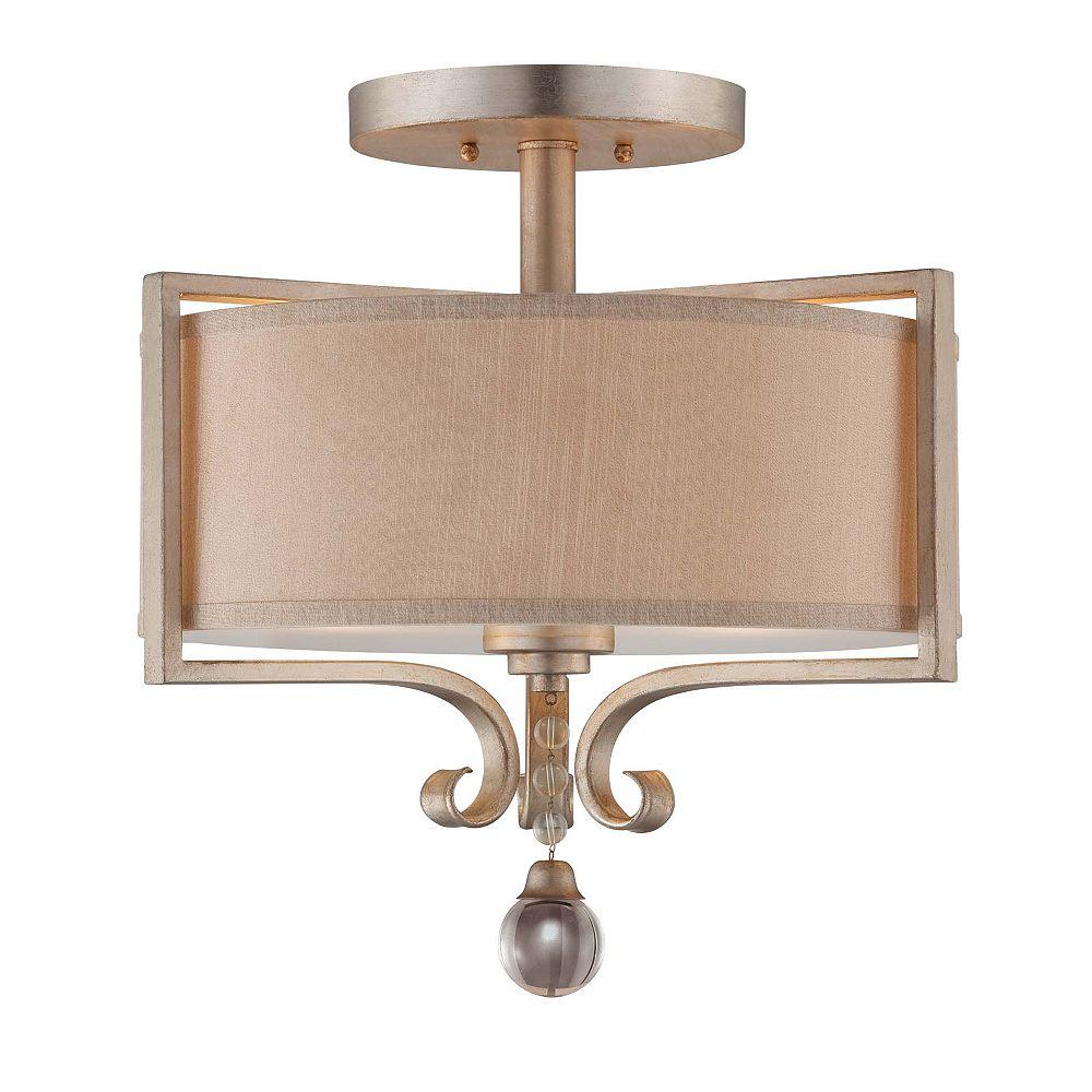 Illumine Satin 2 Light Silver Incandescent Semi-Flush Mount