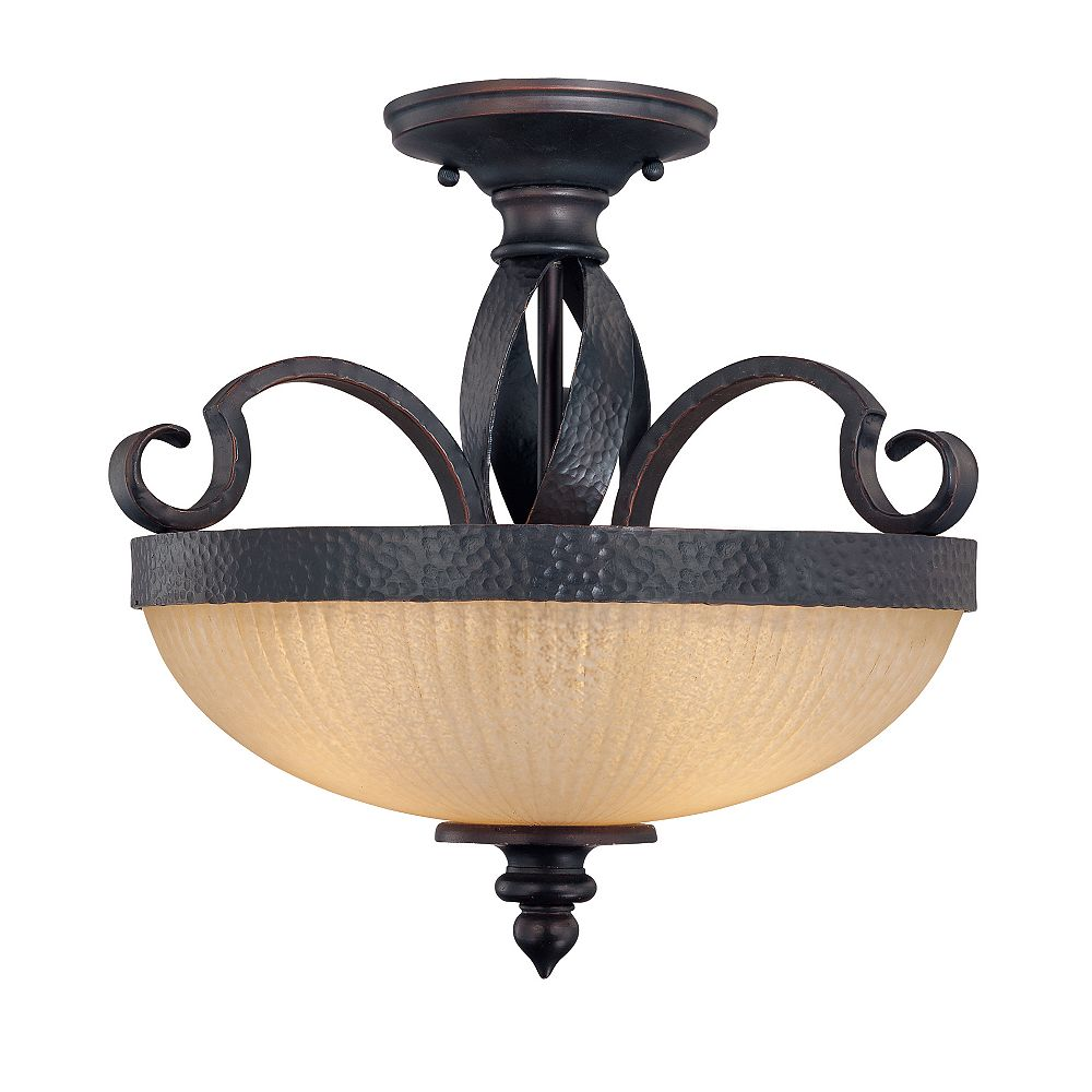 Illumine Satin 3 Light Black Incandescent Semi-Flush Mount With White Glass