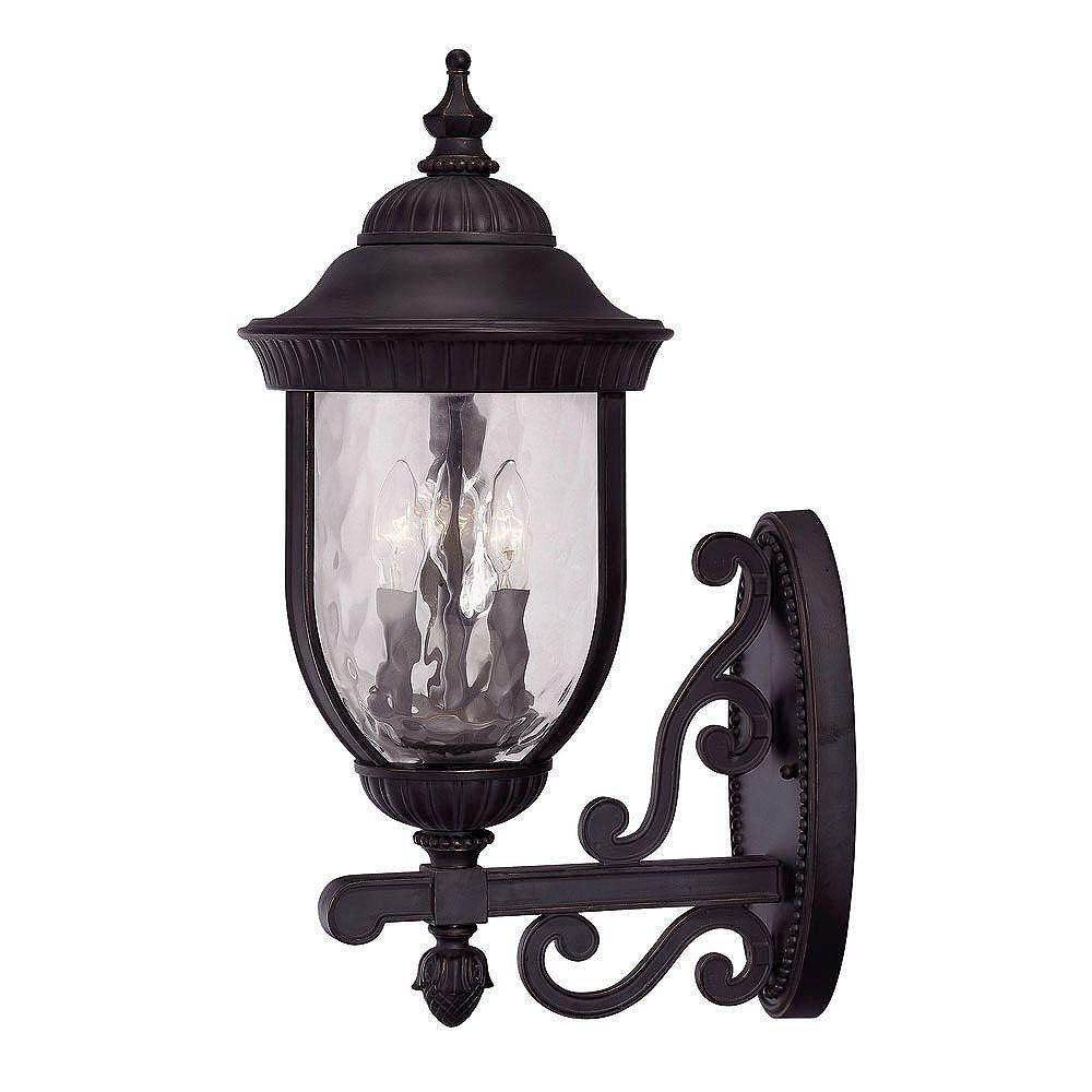 Illumine Satin 3 Light Black Incandescent Outdoor Wall Mount With Clear Glass