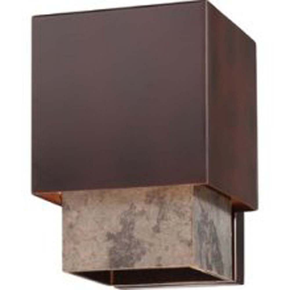 Illumine Satin 1 Light Bronze Incandescent Outdoor Wall Mount With MultiColour Glass