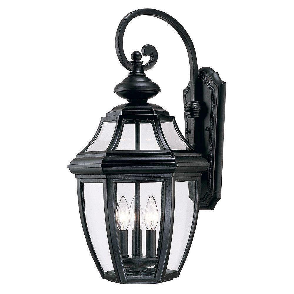 Illumine Satin 3 Light Black Halogen Outdoor Wall Mount With Clear Glass