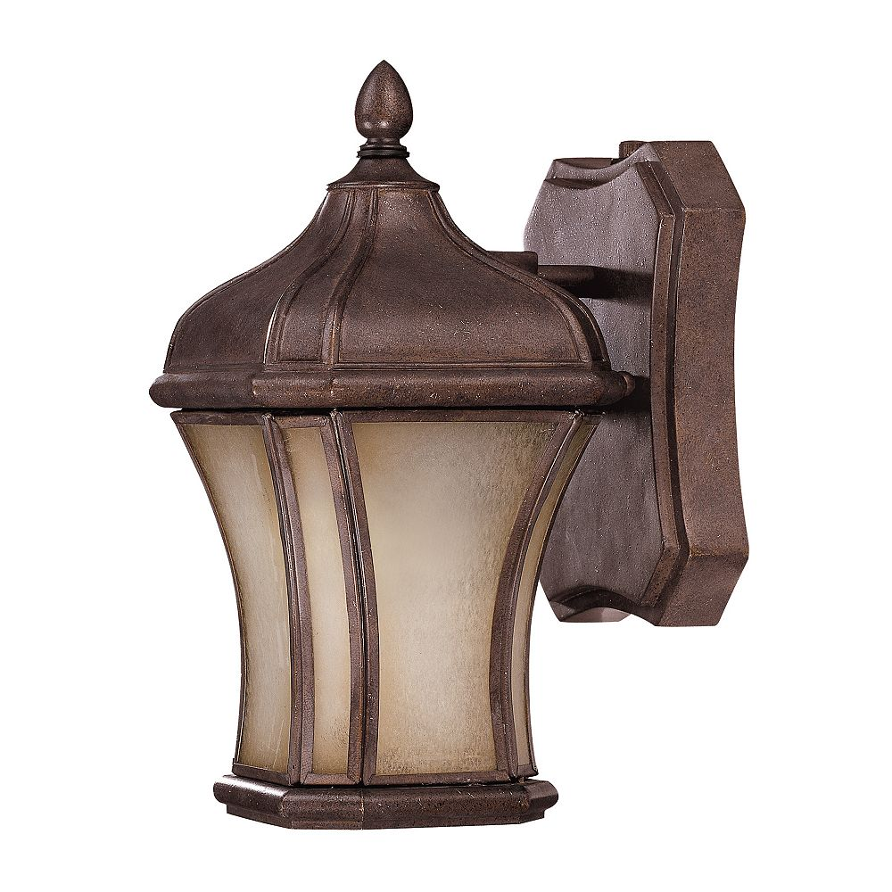 Illumine Satin 1 Light Bronze Fluorescent Outdoor Wall Mount With MultiColour Glass