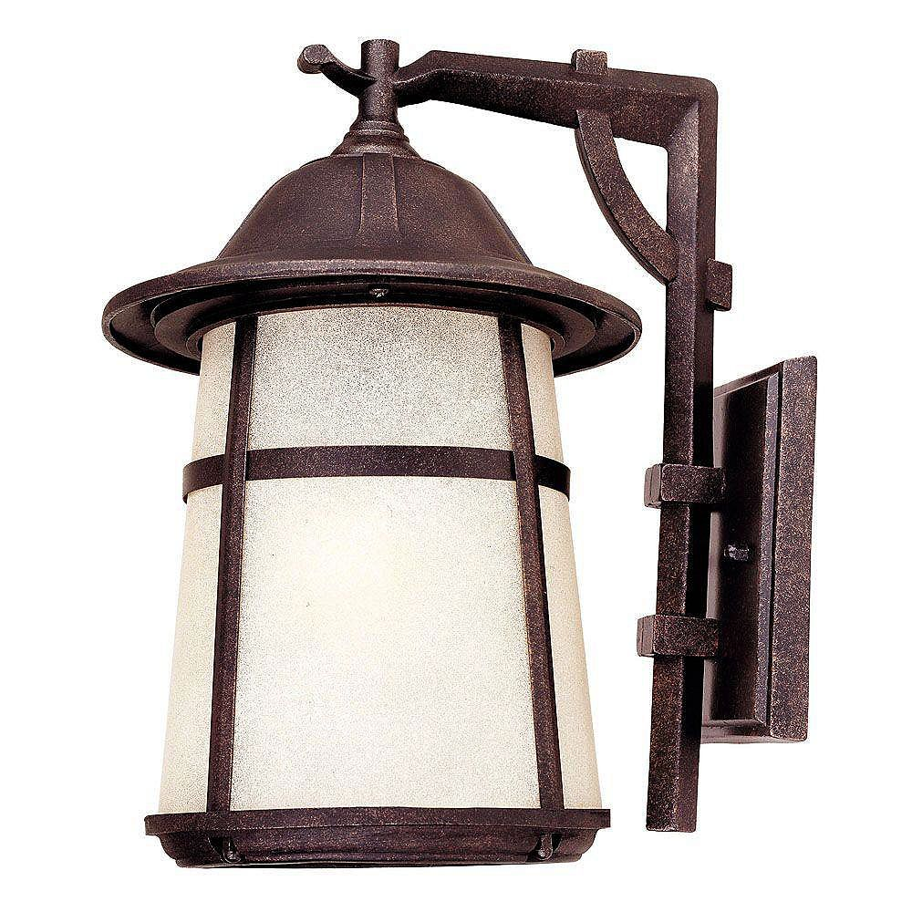 Illumine Satin 1 Light Bronze Incandescent Outdoor Wall Mount With White Glass