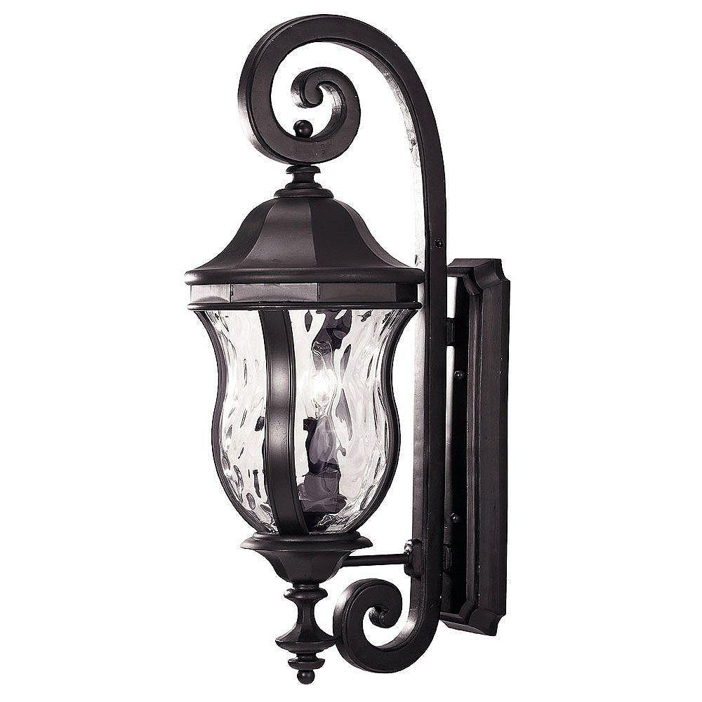 Illumine Satin 3 Light Black Halogen Outdoor Wall Mount With Clear Glass
