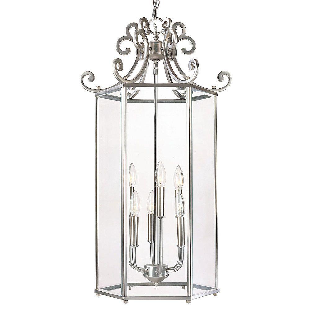 Illumine Satin 6 Light Nickel Incandescent Pendant With Clear Glass