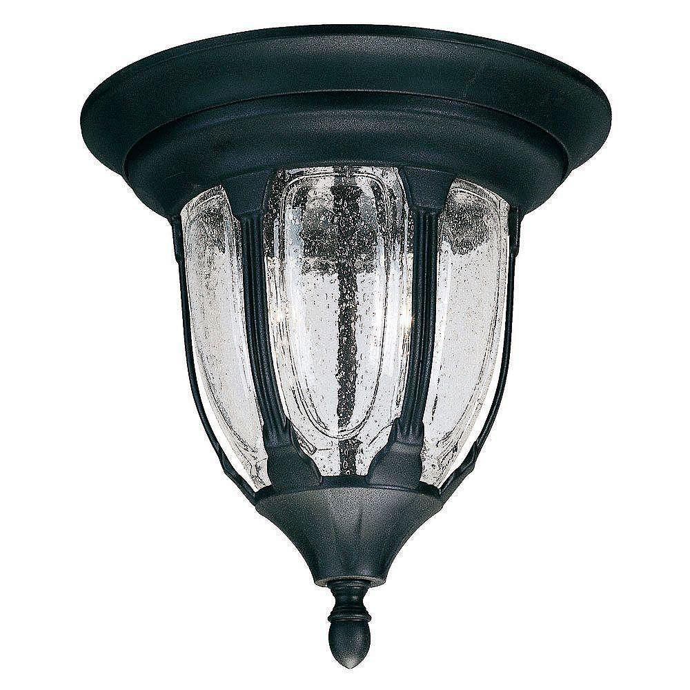 Illumine Satin 2 Light Black Halogen Outdoor Flush Mount With Clear Glass