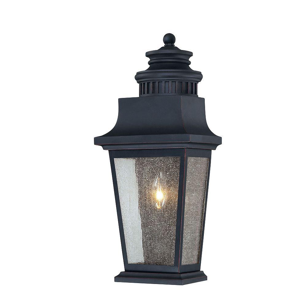 Illumine Satin 1 Light Black Halogen Outdoor Pocket Lantern With Clear Glass