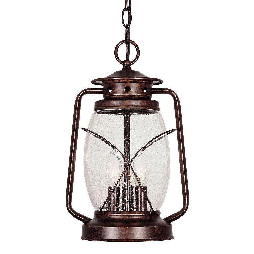 Illumine Satin 3 Light Bronze Halogen Outdoor Hanging Lantern With Clear Glass