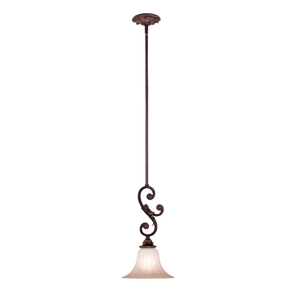 Illumine Satin 1 Light Bronze Incandescent Pendant With MultiColour Glass