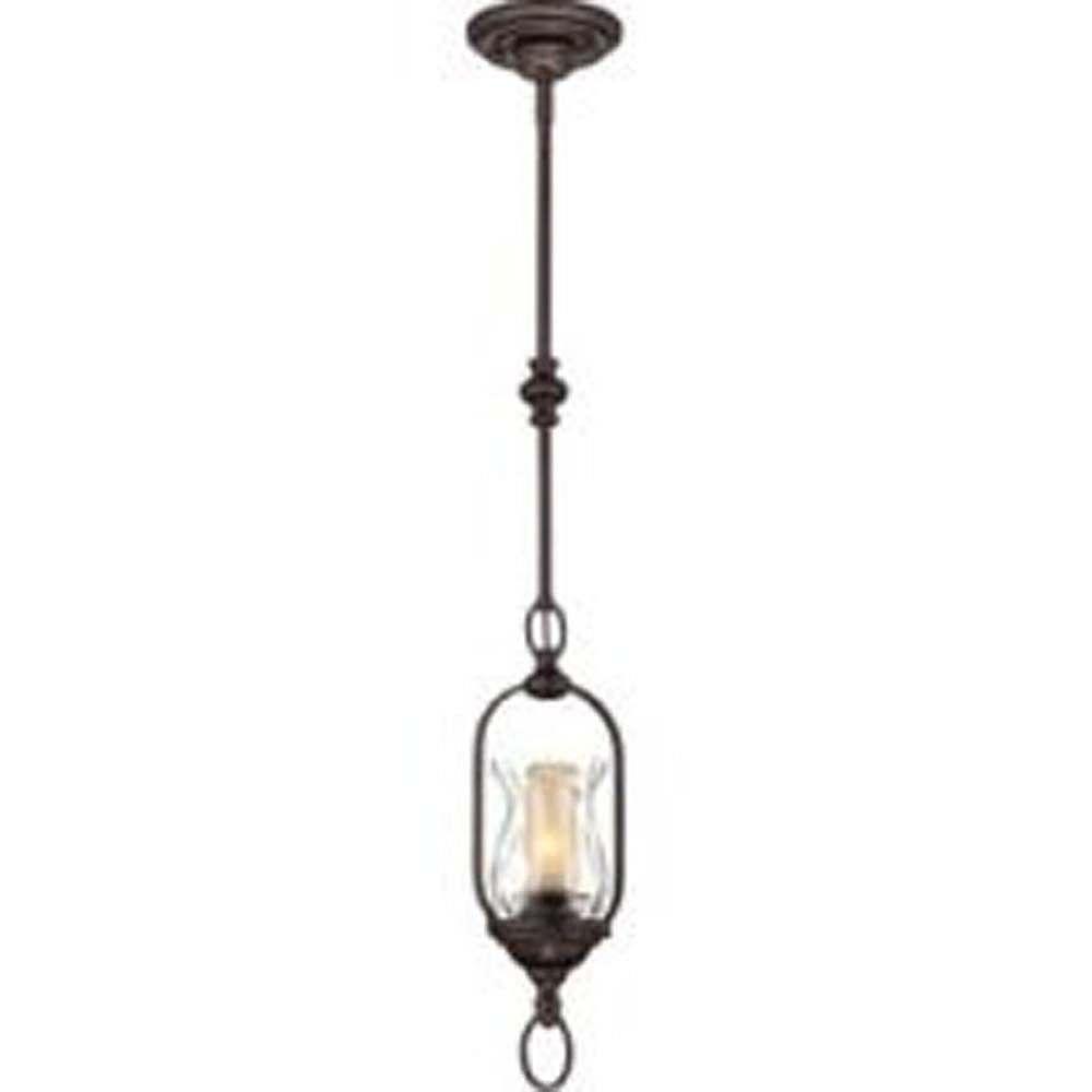 Illumine Satin 1 Light Bronze Incandescent Pendant With Clear Glass