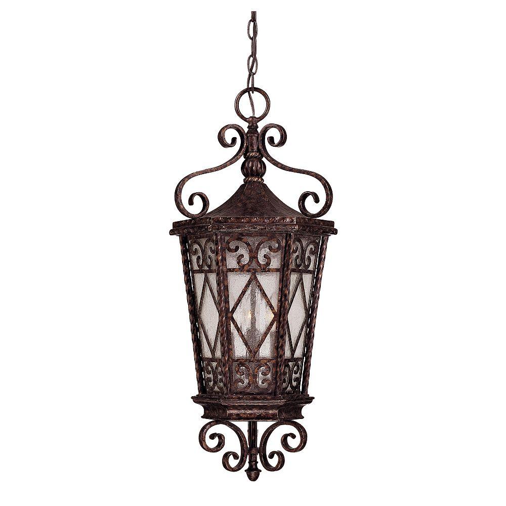 Illumine Satin 3 Light Bronze Halogen Outdoor Hanging Lantern With White Glass