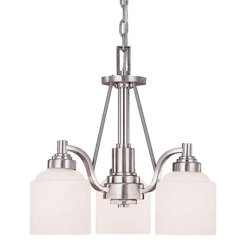 Illumine Satin 3 Light Nickel Incandescent Chandelier With White Glass