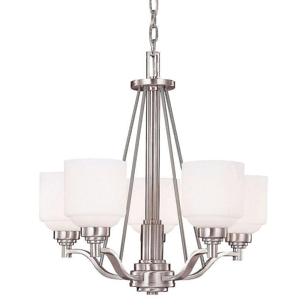 Illumine Satin 5 Light Nickel Incandescent Chandelier With White Glass