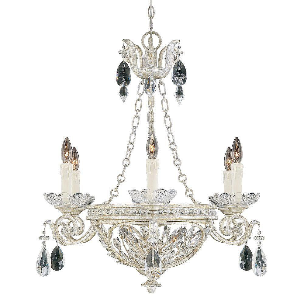 Illumine Satin 9 Light Silver Incandescent Chandelier With Clear Glass