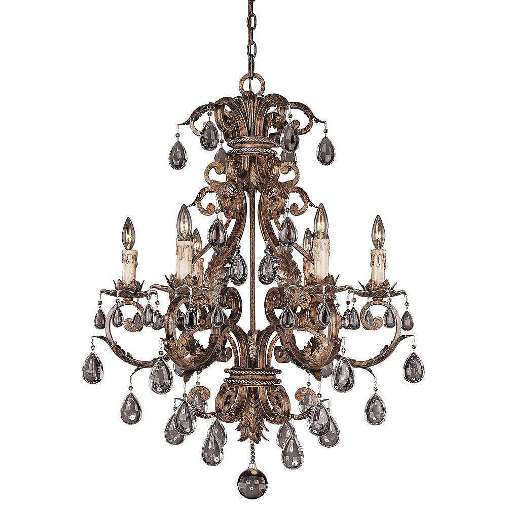 Illumine Satin 6 Light Bronze Incandescent Chandelier With Clear Glass