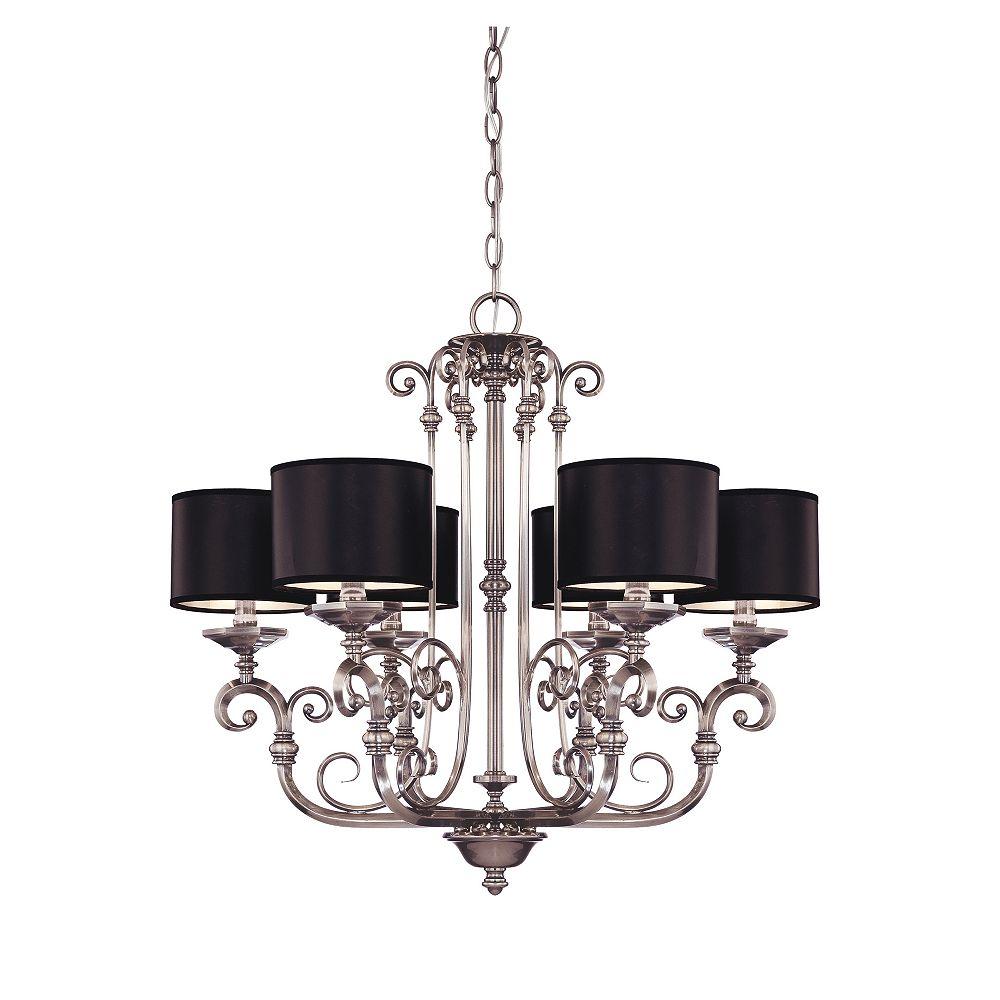 Illumine Satin 6 Light Nickel Incandescent Chandelier With Black Glass