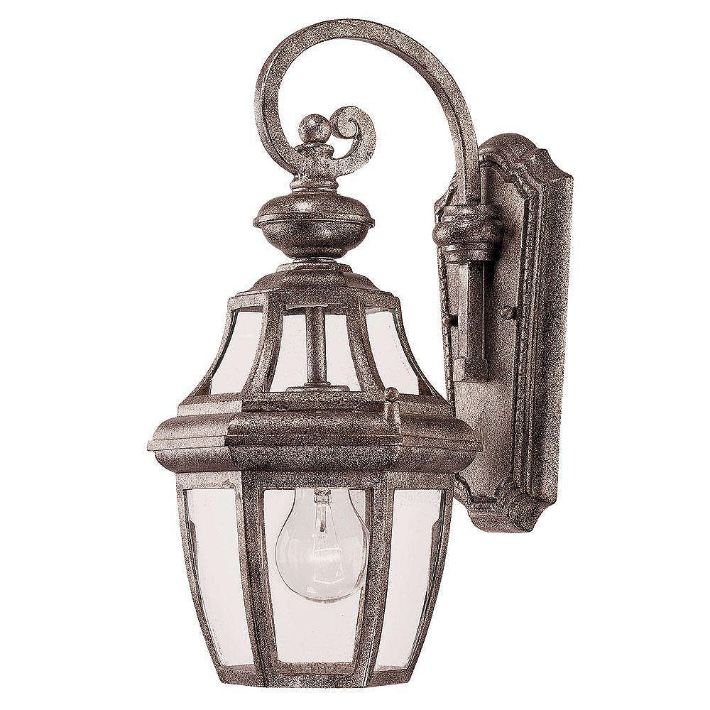 Illumine Satin 1 Light Silver Incandescent Outdoor Wall Mount With Clear Glass