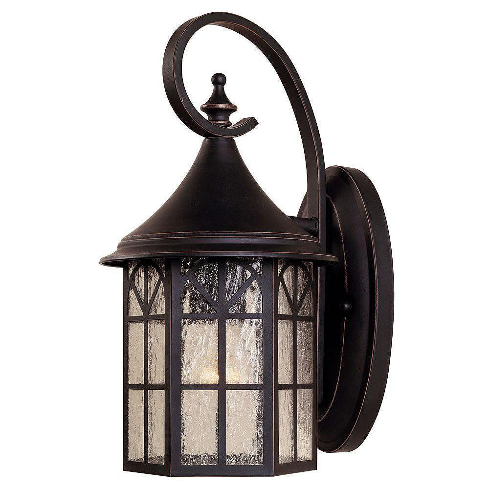 Illumine Satin 1-Light Black Outdoor Wall Mount with White Glass