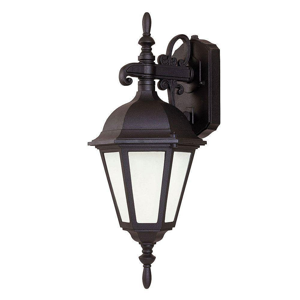 Illumine Satin 1 Light Black Fluorescent Outdoor Wall Mount With Frosted Glass