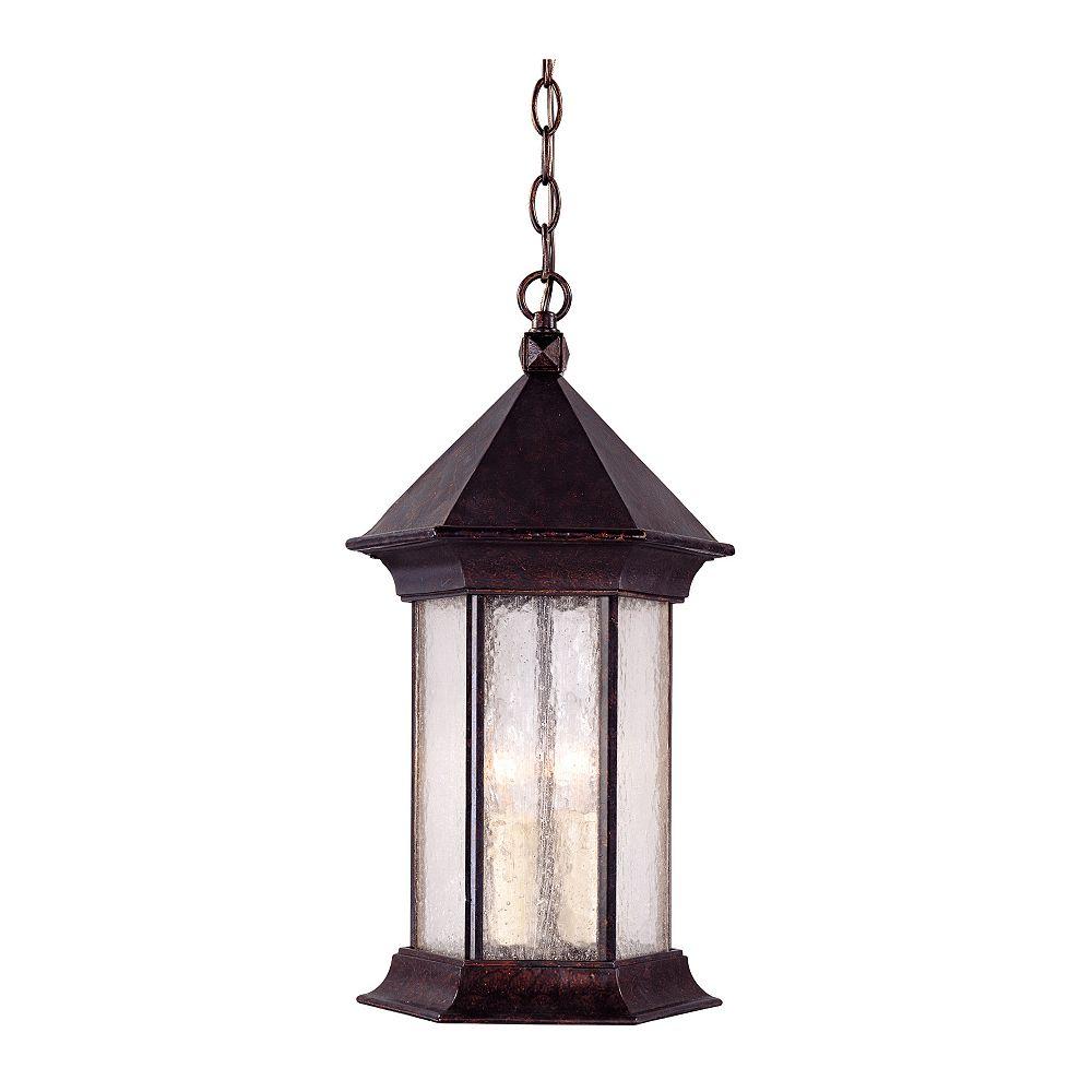 Illumine Satin 3 Light Bronze Halogen Outdoor Hanging Lantern With MultiColour Glass