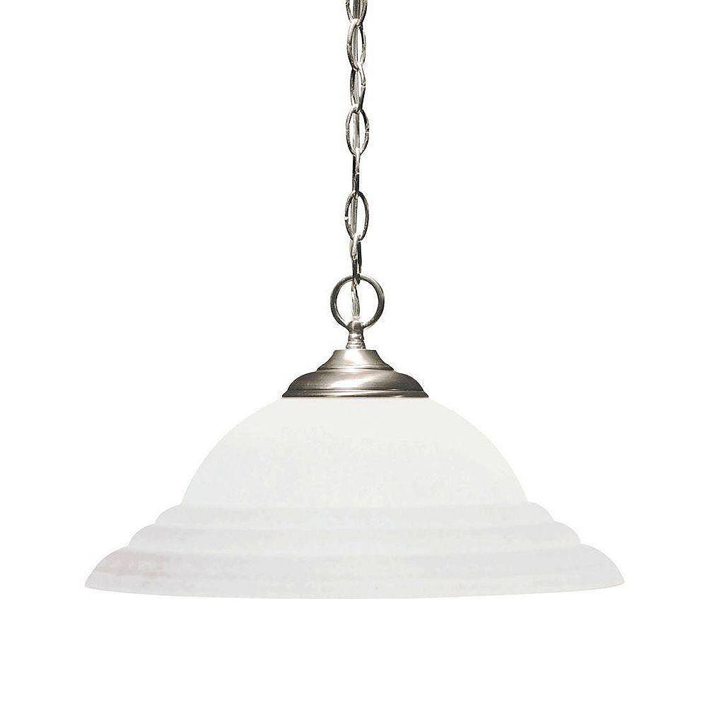 Illumine Satin 1 Light Nickel Incandescent Pendant With White Glass