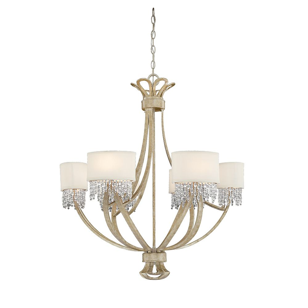 Illumine Satin 6 Light Gold Fluorescent Chandelier With Clear Glass