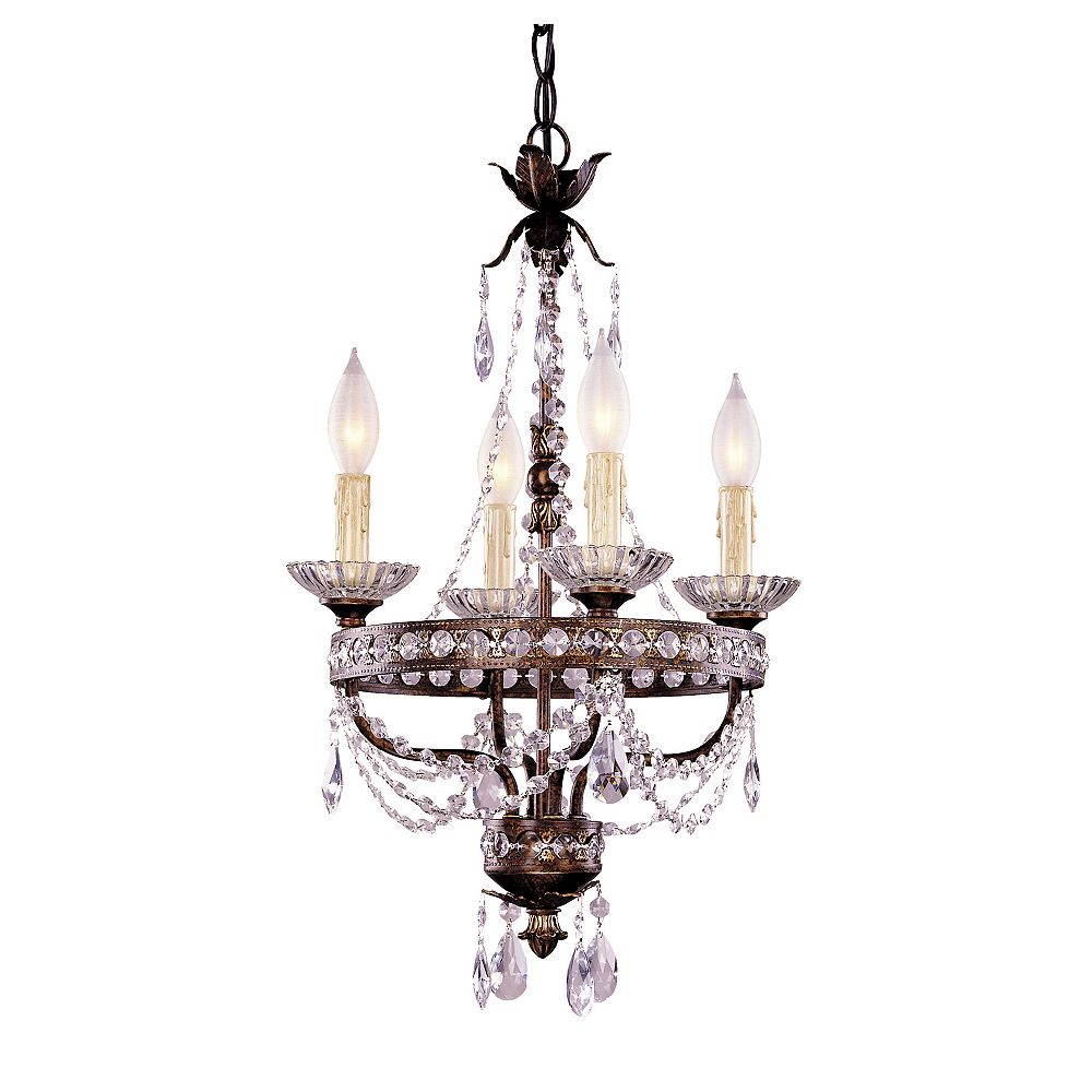 Illumine Satin 4-Light Bronze Chandelier with Clear Glass