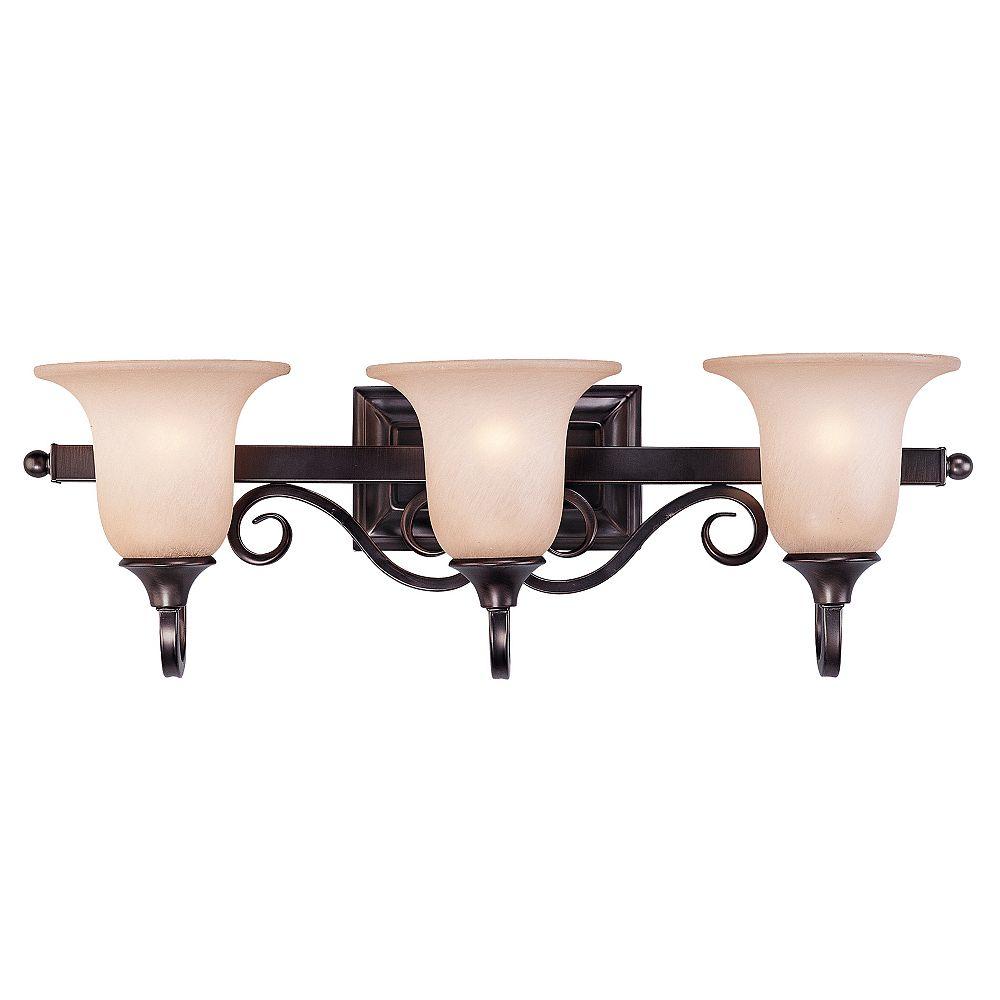 Illumine Satin 3 Light Bronze Incandescent Bath Bar With MultiColour Glass