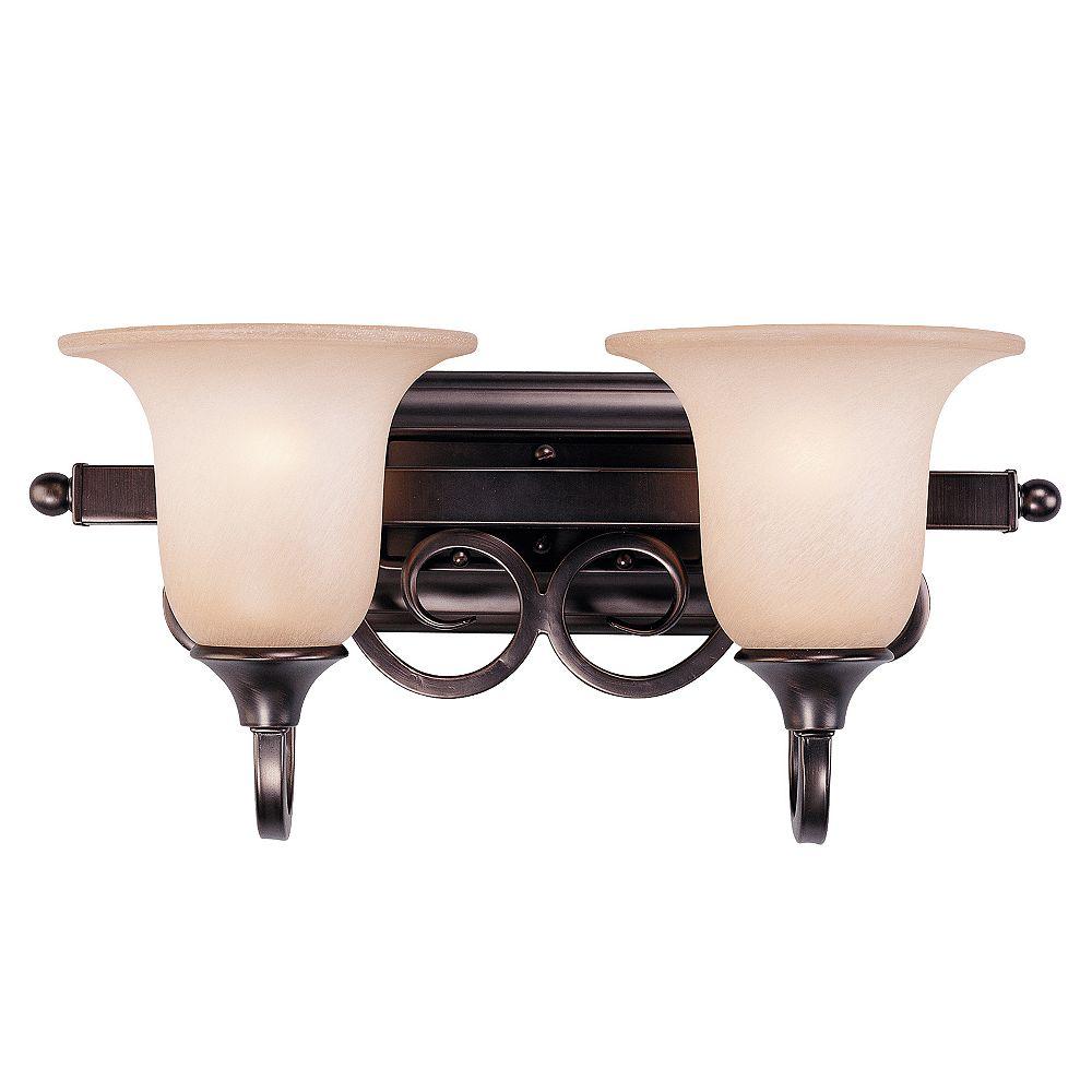Illumine Satin 2 Light Bronze Incandescent Bath Bar With MultiColour Glass