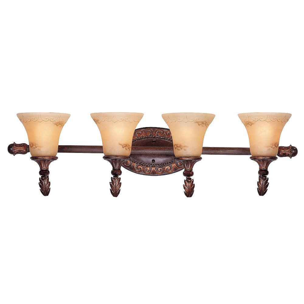Illumine Satin 4 Light Bronze Incandescent Bath Bar With Amber Glass
