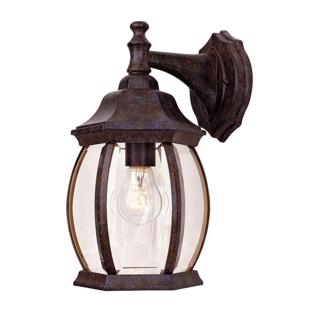Illumine Satin 1 Light Bronze Incandescent Outdoor Wall Mount With Clear Glass