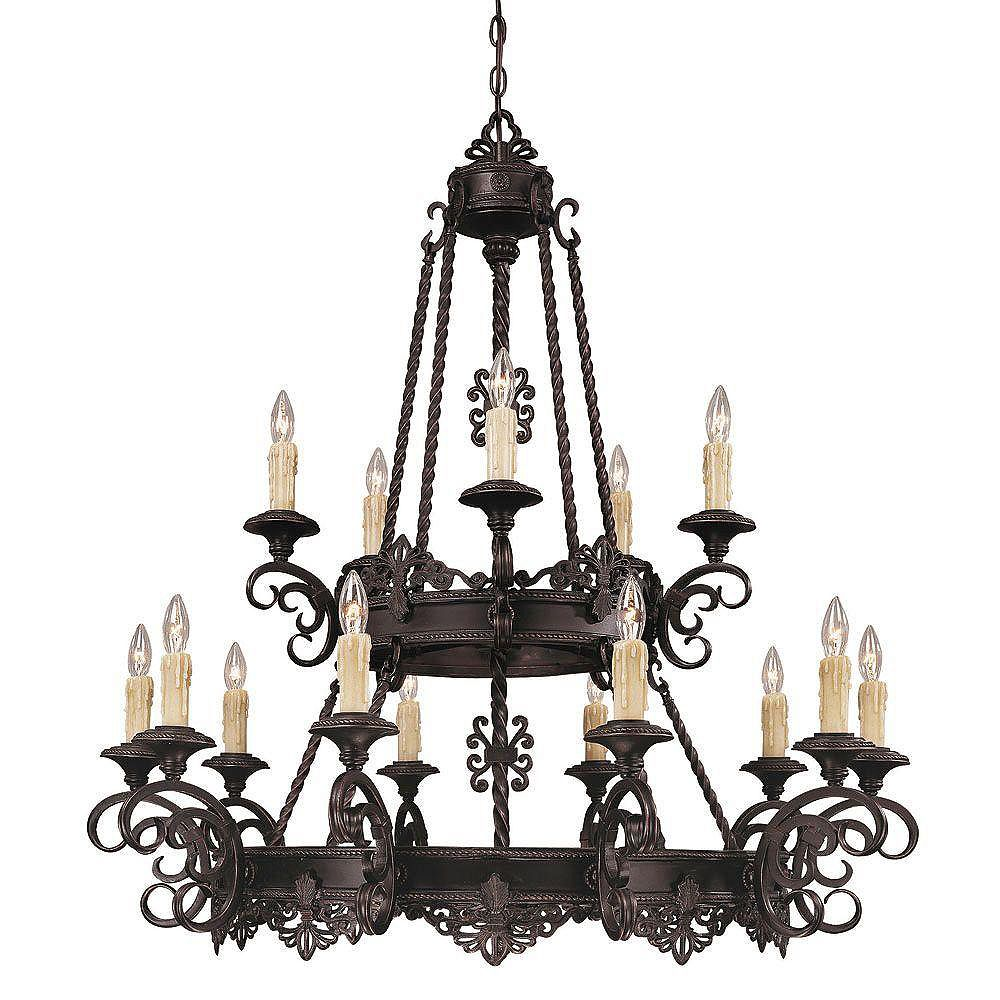Illumine Satin 15 Light Black Incandescent Chandelier With Clear Glass