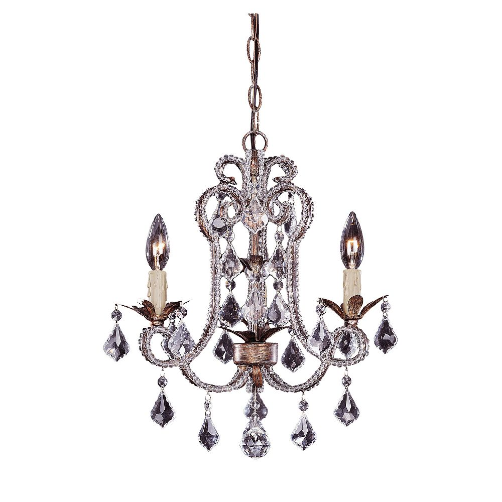 Illumine Satin 3 Light Gold Incandescent Chandelier With Clear Glass