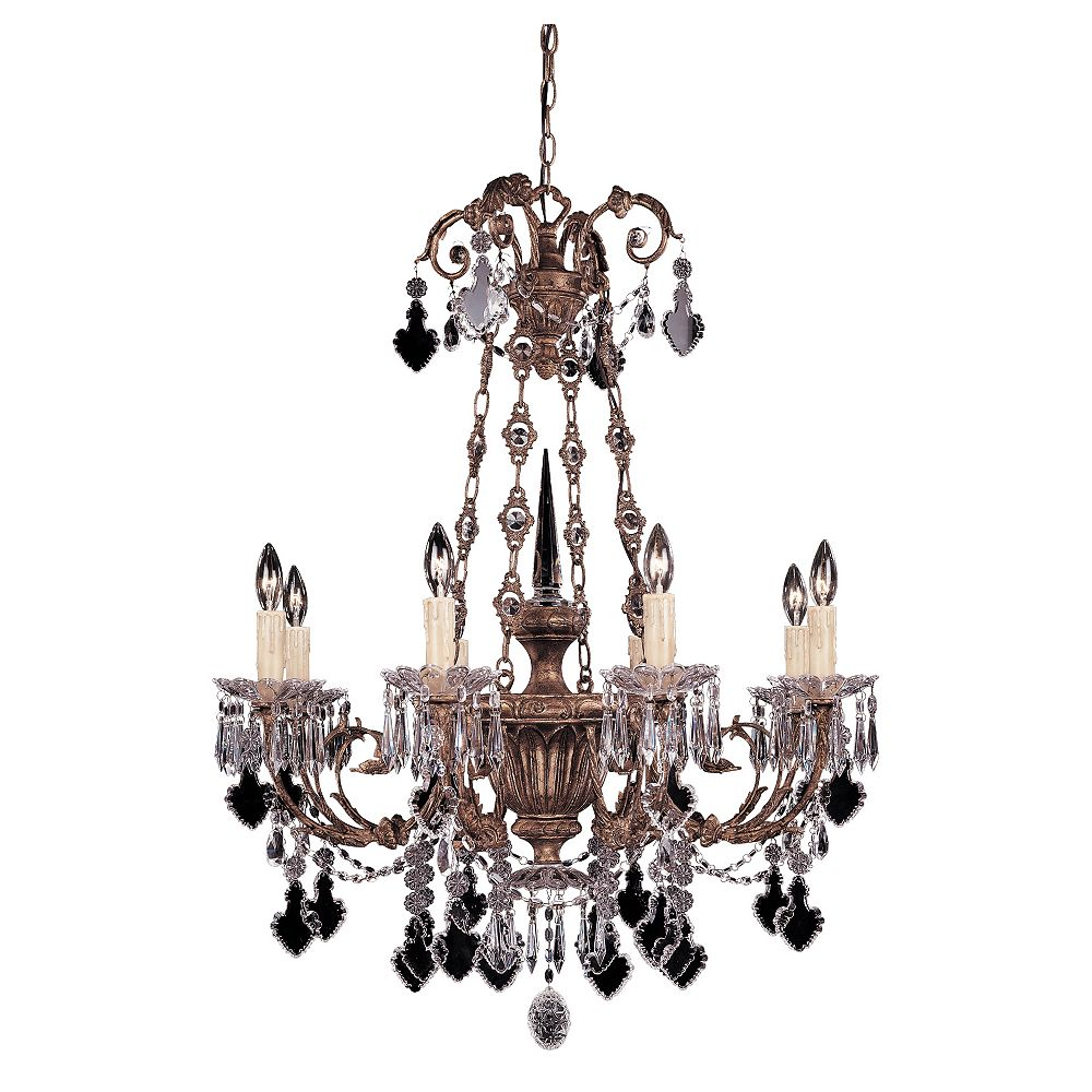 Illumine Satin 8 Light Gold Incandescent Chandelier With Clear Glass