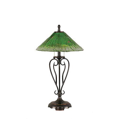 Concord 16 en cuivre noir Lampe de table à incandescence avec un cristal en verre vert