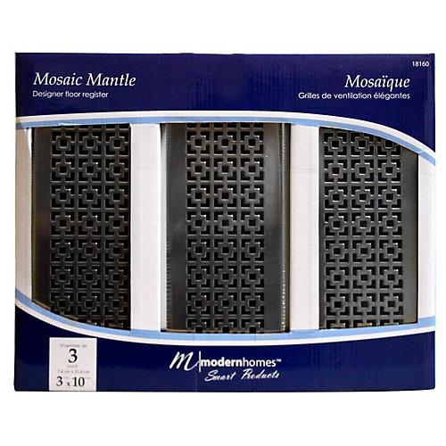 3x10 Designer Mosaic Mantle Brushed Nickel Floor Register (3-Pack)