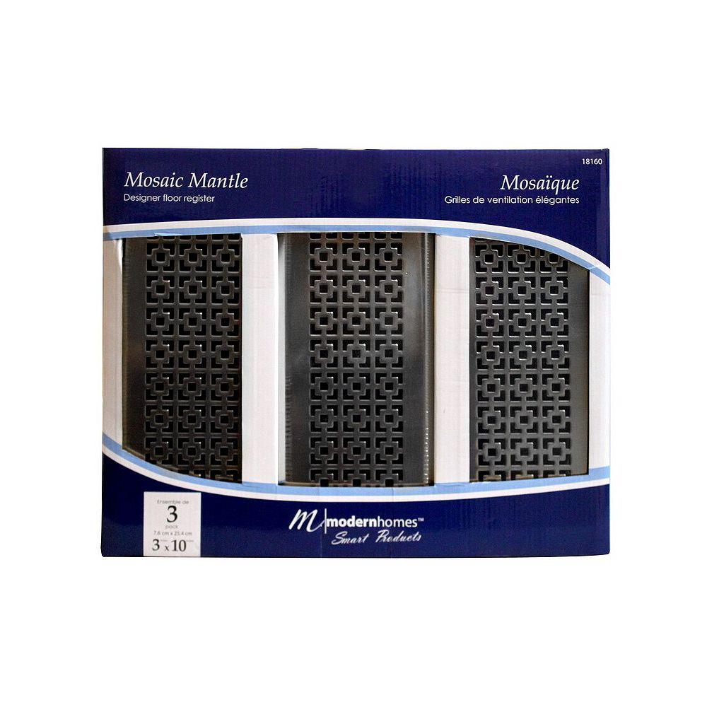Modern Homes 3x10 Designer Mosaic Mantle Brushed Nickel Floor Register (3-Pack)