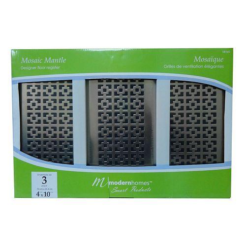 4x10 Designer Mosaic Mantle Brushed Nickel Floor Register (3-Pack)