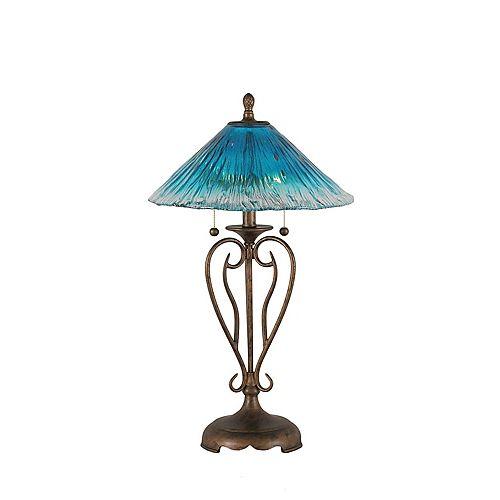 Concord 16 en Bronze Lampe de table à incandescence avec un cristal de verre Teal
