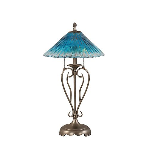 Concord 16 en nickel brossé Lampe de table à incandescence avec un cristal de verre Teal