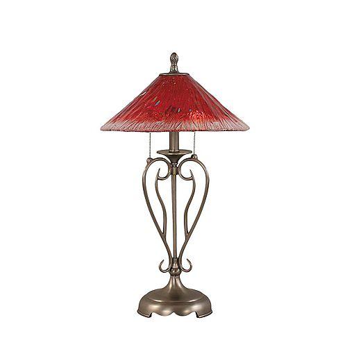 Concord 16 en nickel brossé Lampe de table à incandescence avec un cristal de verre Framboise
