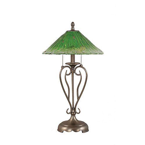 Concord 16 en nickel brossé Lampe de table à incandescence avec un cristal en verre vert