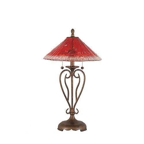 Concord 16 en Bronze Lampe de table à incandescence avec un cristal de verre Framboise