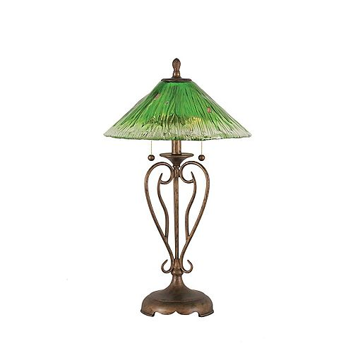 Concord 16 en Bronze Lampe de table à incandescence avec un cristal en verre vert