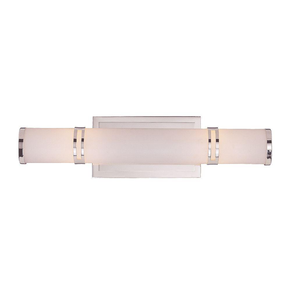 Illumine Satin 2 Light Nickel Incandescent Bath Bar With White Glass
