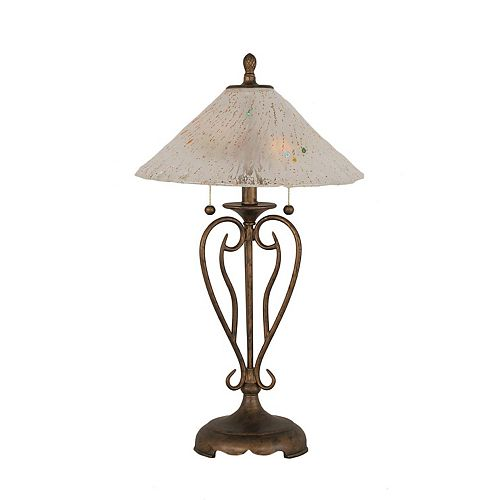 Concord 16 en Bronze Table Lamp incandescence par une Frosted Crystal