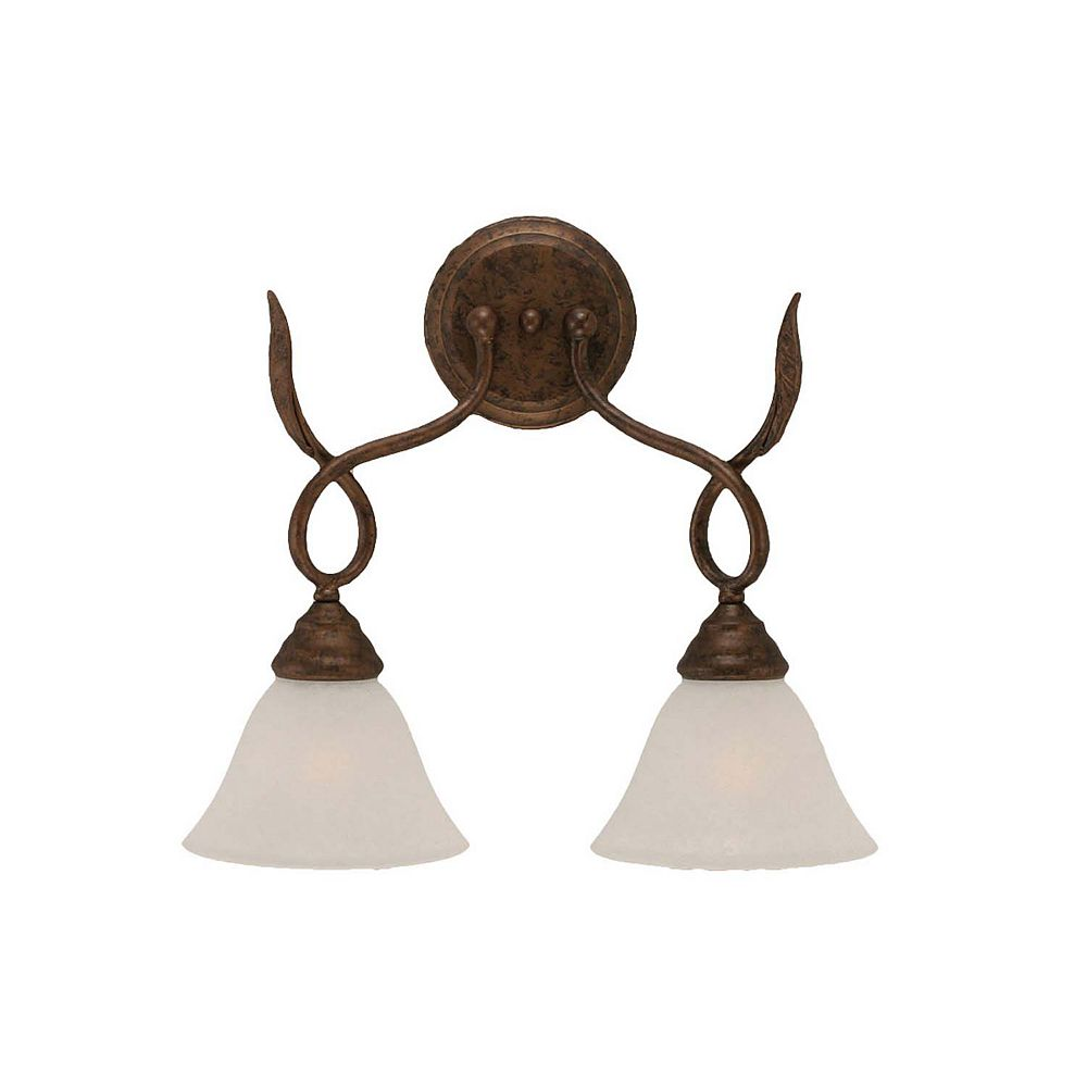 Filament Design Concord 2-Light Wall Bronze Wall Sconce with a White Marble Glass