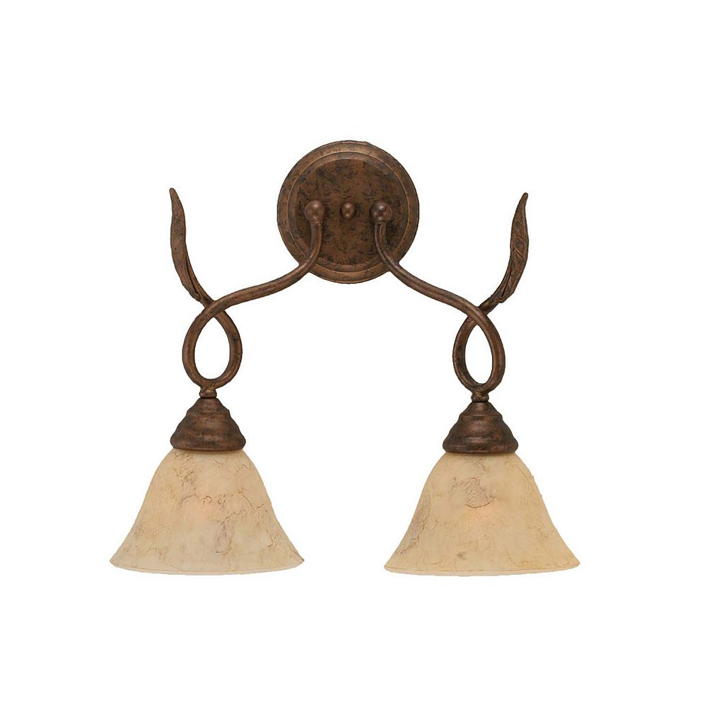 Filament Design Concord 2-Light Wall Bronze Wall Sconce with an Italian Marble Glass