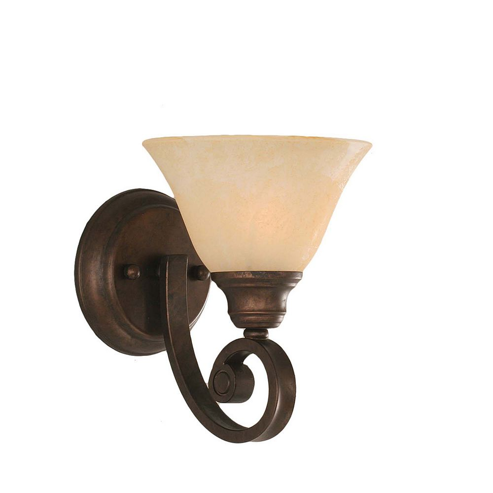 Filament Design Concord 1-Light Wall Bronze Wall Sconce with an Amber Glass