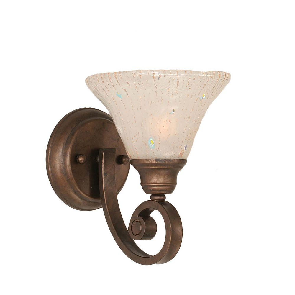 Filament Design Concord 1-Light Wall Bronze Wall Sconce with a Frosted Crystal Glass